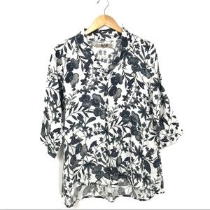 FLAX Black White Floral Printed Tunic Blouse S B1